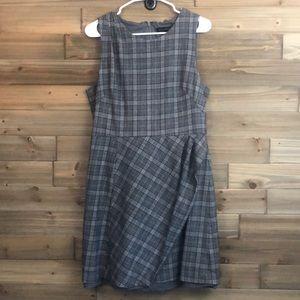 Banana Republic Wool Grey Plaid Dress Size 14